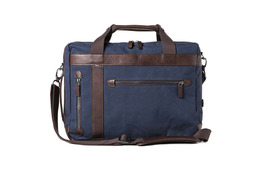 Barber Shop Convertible Bag Undercut - Blue Canvas and Dark Brown Leather