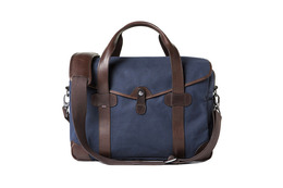 Barber Shop Medium Messenger Bob Cut - Blue Canvas and Dark Brown Leather