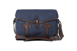 Barber Shop Small Messenger Pageboy - Blue Canvas and Dark Brown Leather