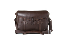 Barber Shop Small Messenger Pageboy - Dark Brown Leather
