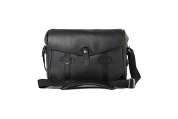 Barber Shop Small Messenger Pageboy - Grained Black Leather