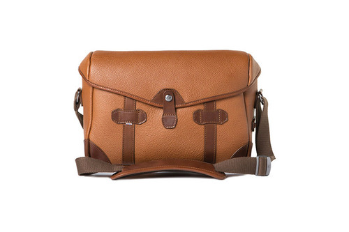 Barber Shop Small Messenger Pageboy - Grained Brown Leather